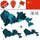Karte von Shenzhen mit Abteilungen Lizenzfreie Stockbilder
