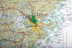 Karte von Stockholm mit Druckbolzen Stockbilder