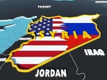 Karte von Syrien teilte sich mit USA und Russland-Flaggen mit umgebenden Ländern - 3D übertragen Stockfotos
