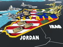 Karte von Syrien teilte sich mit USA und Russland-Flaggen mit umgebenden Ländern - 3D übertragen Lizenzfreies Stockfoto
