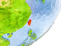 Karte von Taiwan auf Erde Stockfotografie