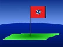 Karte von Tennessee mit Markierungsfahne Stockbilder