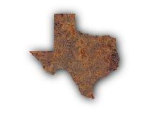 Karte von Texas auf rostigem Metall stockfotografie