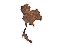 Karte von Thailand auf rostigem Metall stockfotografie