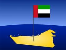 Karte von UAE mit Markierungsfahne Stockbild