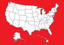 Karte von US mit Markierungsfahne Stockfotografie