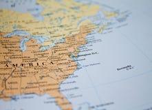 Karte von USA im Fokus Stockfotografie
