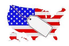 Karte von USA mit Flagge und leerem Verkaufs-Tag Wiedergabe 3d Lizenzfreie Stockfotos