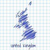 Karte von Vereinigtem Königreich, blauer Skizzenzusammenfassungshintergrund vektor abbildung