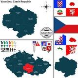 Karte von Vysocina, Tschechische Republik Lizenzfreies Stockbild