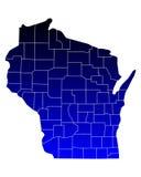 Karte von Wisconsin lizenzfreie abbildung