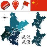 Karte von Wuhan mit Abteilungen Lizenzfreies Stockfoto
