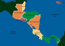 Karte von Zentralamerika Stockbild
