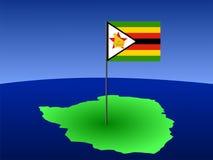 Karte von Zimbabwe mit Markierungsfahne Lizenzfreie Stockfotos