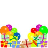 Karte zum Geburtstag mit Ballonen und Geschenken. Vektor Lizenzfreie Stockfotografie