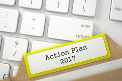 Kartei mit Aufschrift-Aktionsplan 2017 3d Lizenzfreies Stockfoto