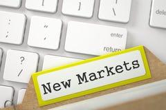 Kartei mit Aufschrift-neuen Märkten 3d Lizenzfreie Stockfotos