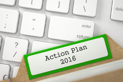 Karteikarte mit Aufschrift-Aktionsplan 2016 3d Lizenzfreie Stockfotografie