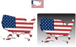 Karten 3D von Vereinigten Staaten Amerika Lizenzfreies Stockbild