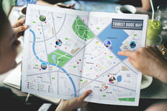 Karten-Abenteuer-Bestimmungsort-Navigations-Weg-Reise-Konzept stockfotografie