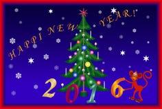 Karten des neuen Jahres mit dem Bild von Verzierungen Stockfoto