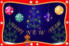 Karten des neuen Jahres mit dem Bild von Verzierungen Lizenzfreie Stockfotos