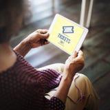 Karten, die Zahlungs-Ereignis-Unterhaltungs-Konzept kaufen Lizenzfreies Stockfoto
