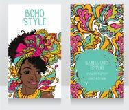 Karten für boho Art mit schöner Afroamerikanerfrau Lizenzfreies Stockbild