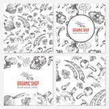 Karten, Fahnen mit der gezeichneten Hand skizzieren Gemüse, Pilze, Olive, Pfeffer, Zwiebel auf Weiß, vector nahtloses lizenzfreie abbildung