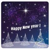 Karten-guten Rutsch ins Neue Jahr-Feuerwerk und -Feuerwerke Stockfotos