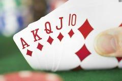 Karten-Hand - königliches Erröten Stockfotos