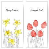 Karten mit Frühlingsblumen Stockfotografie