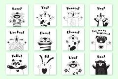 Karten mit lustigen Tieren und Ausrufen Tiger Pig Bear Fox Sheep Cat Pug Panda Rabbit für das Design von Kindern Stockfotografie