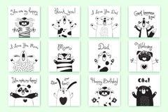 Karten mit lustigen Tieren und Ausrufen Tiger Pig Bear Fox Sheep Cat Pug Panda Rabbit für das Design von Kindern Lizenzfreie Stockfotos