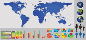 Karten mit verschiedenen Elementen und Ikonen Lizenzfreie Stockfotografie