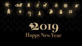 Karten oder Fahnen-guten Rutsch ins Neue Jahr-Goldfarbschwarzer Hintergrund 2019 stockfotos