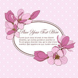 Karten-Ovalrahmen der Magnolie rosa stockfotografie