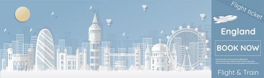 Karten reisen nach London, England mit den berühmten und berühmten Plätzen in Form von Papierschnitt, die Vektorart und annoncier stock abbildung