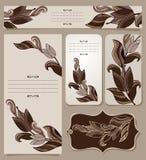 Karten-Sammlung mit Weinlese-Blumenmuster Stockfoto