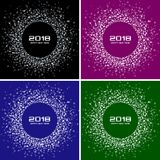 Karten-Satz-Vektor-Hintergründe des guten Rutsch ins Neue Jahr-2018 Helle bunte Disco beleuchtet Halbtonkreis-Rahmen stock abbildung