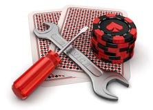 Karten, spielende Chips und Werkzeuge Stock Abbildung