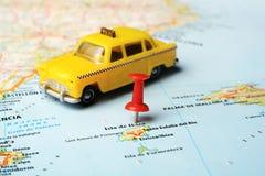 Karten-Taxiauto Ibiza-Insel, Spanien Stockbild