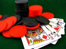 Karten und Chips Stockfotos