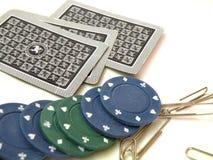 Karten und Chips, zum von Poke zu spielen Lizenzfreie Stockfotografie