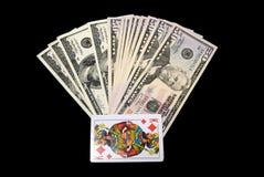 Karten und Dollar Lizenzfreie Stockfotos
