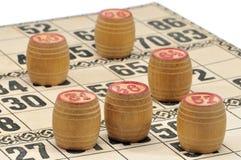 Karten und Fässer für russisches Lotto (Bingospiel) Stockfoto