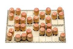 Karten und Fässer für russisches Lotto (Bingospiel) Lizenzfreie Stockfotografie