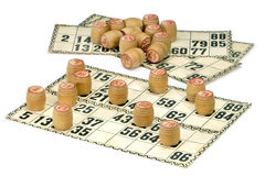 Karten und Fässer für russisches Lotto (Bingospiel) Lizenzfreie Stockfotos