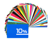 Karten und giftcards Disconts Stockbilder
