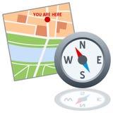 Karten-und Kompass-Zeichen Lizenzfreies Stockbild